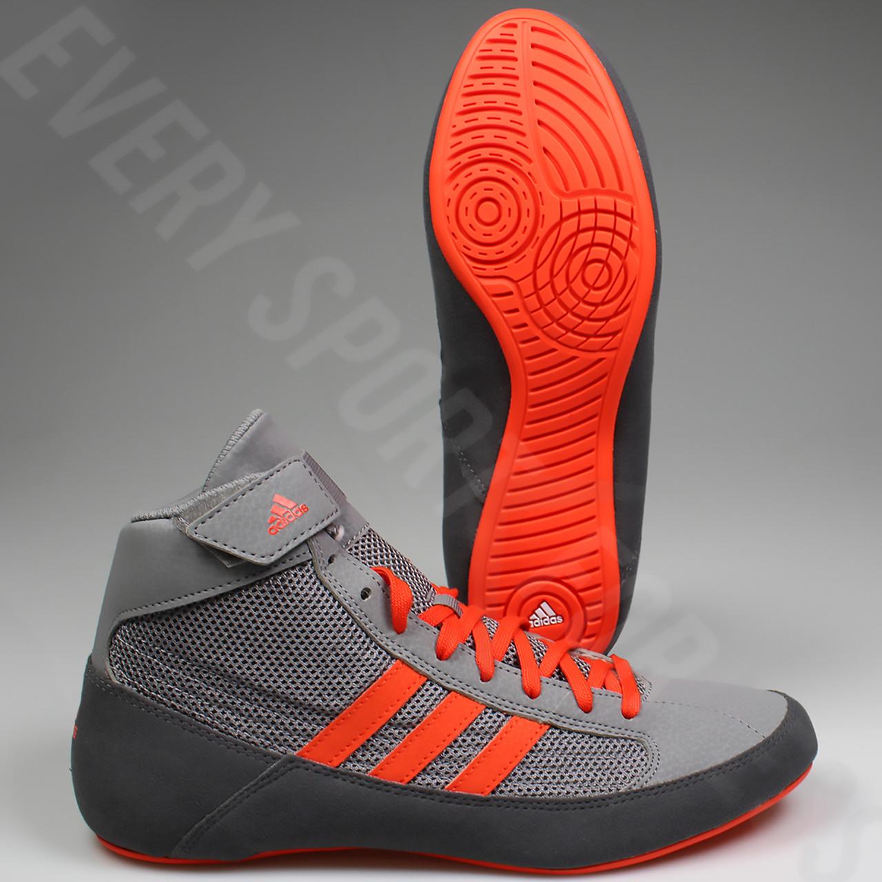 hot sales d5db3 cf8d5 ... Adidas HVC 2 Mens Wrestling Shoes CG3802 - Grey  Solar Red ...