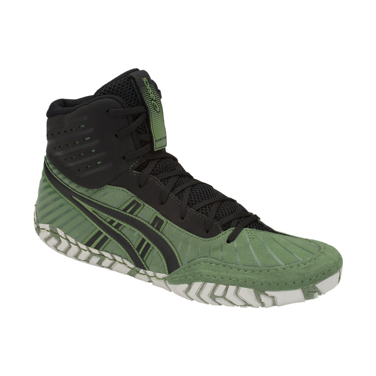 7868fdf3357 Asics Aggressor 4 Men's Wrestling Shoes - Green, Black