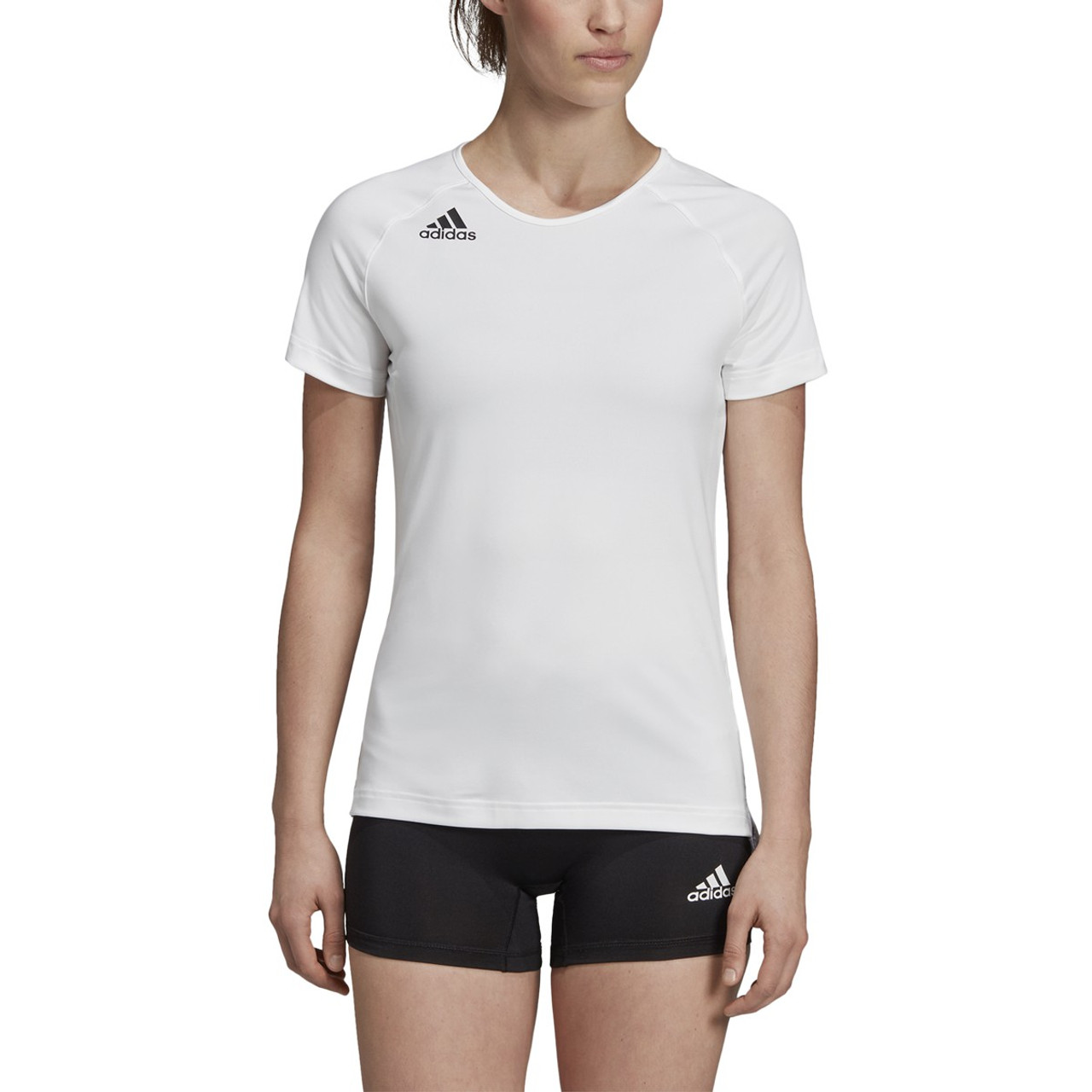 Adidas HILO Women's Short Sleeve Volleyball Shirt DP4343 - White, Black
