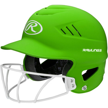 Rawlings Highlighter Baseball Batting Helmet with Mask - Green