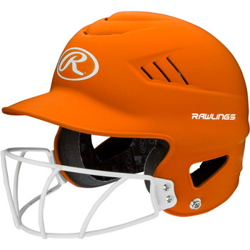 Rawlings Highlighter Baseball Batting Helmet with Mask - Orange