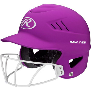 Rawlings Highlighter Baseball Batting Helmet with Mask - Purple