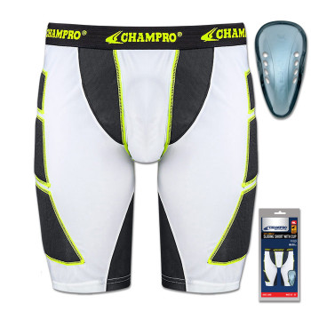 Champro On-Deck Senior Sliding Shorts With Cup - White