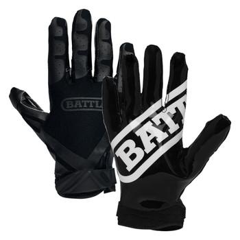 Battle Ultra Stick Senior Football Receiver Gloves - Black, Black