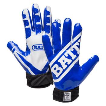 Battle Ultra Stick Senior Football Receiver Gloves - Blue, White