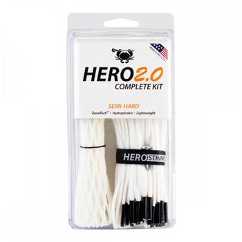 East Coast Dyes Hero 2.0 Semi-Hard Complete Lacrosse String Kit - White