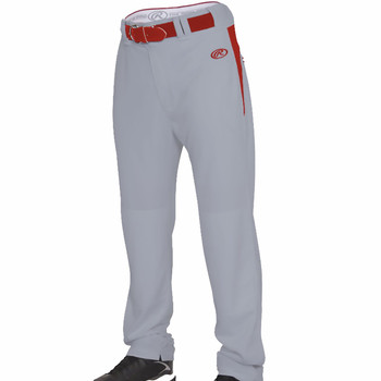 Rawlings Men's Baseball / Softball Pants Open Bottom - Grey, Red