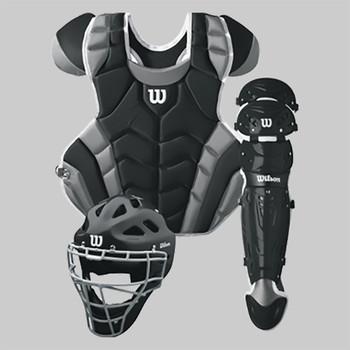 Wilson C1K Intermediate Baseball Catcher's Gear Kit | Black