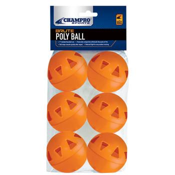 "Champro Brute Poly 9"" Baseballs - Orange 6 Pack"