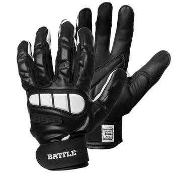 Battle Football Youth Lineman Gloves - Black, White