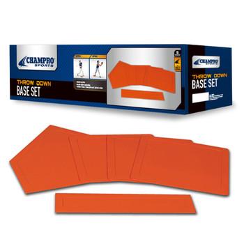 Champro Rubber Throw Down Five Piece Base Set - Orange