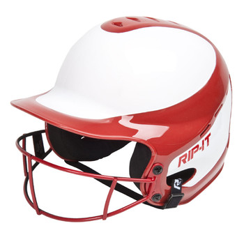 Rip-It Vision Pro Two-Tone Senior Fastpitch Batting Helmet - Red, White