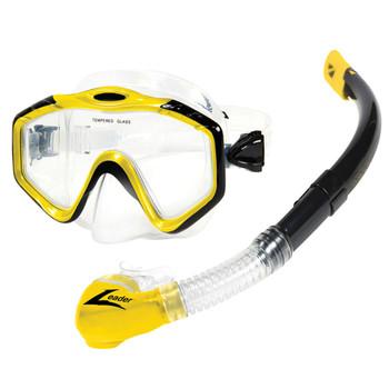 Leader Majorca Senior Swimming Mask and Snorkel Combo - Yellow, Black