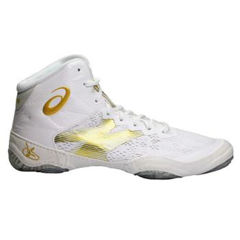 Asics JB Elite IV Adult Wrestling Shoes - White, Gold