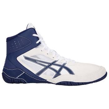 Asics Mat Control Adult Wrestling Shoes - White, Blue