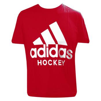 Adidas Badge of Sport Adult Hockey Tee Shirt - Scarlet