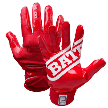Battle Double Threat Senior Football Receiver Gloves - Red, Red