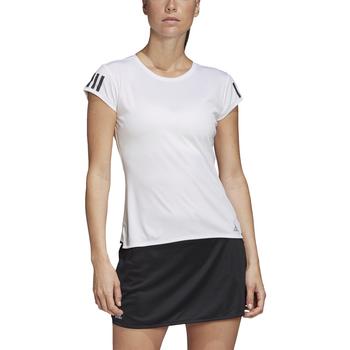 Adidas Club 3-Stripe Women's Tennis Tee - White, Matte Silver, Black