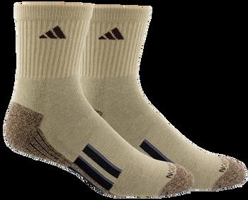 adidas Cushioned X II Athletic Mid Crew Socks 2 Pack - Khaki, Chocolate, Black