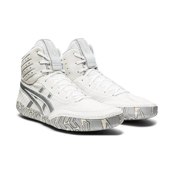 Asics Aggressor 4 Adult Wrestling Shoes - White/Silver