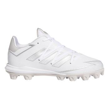 adidas Adizero Afterburner 7 Youth Baseball Mid Cleats FX4070 - White, Silver, White