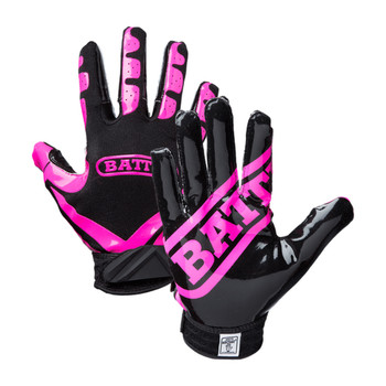 Battle Ultra Stick Football Senior Receiver Gloves - Pink, Black