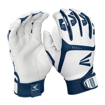 Easton Gametime Senior Baseball Batting Gloves - White, Navy