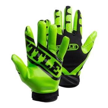 Battle Ultra Stick Football Senior Receiver Gloves - Neon Green, Black