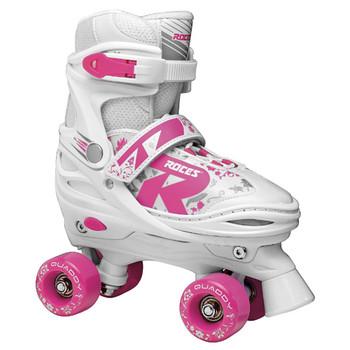 Roces Quaddy 2.0 Kid's Adjustable Quad Roller Skates - White, Pink