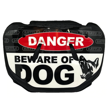 """Battle Youth Football 5.75"""" Back Plate - Beware of Dog"""
