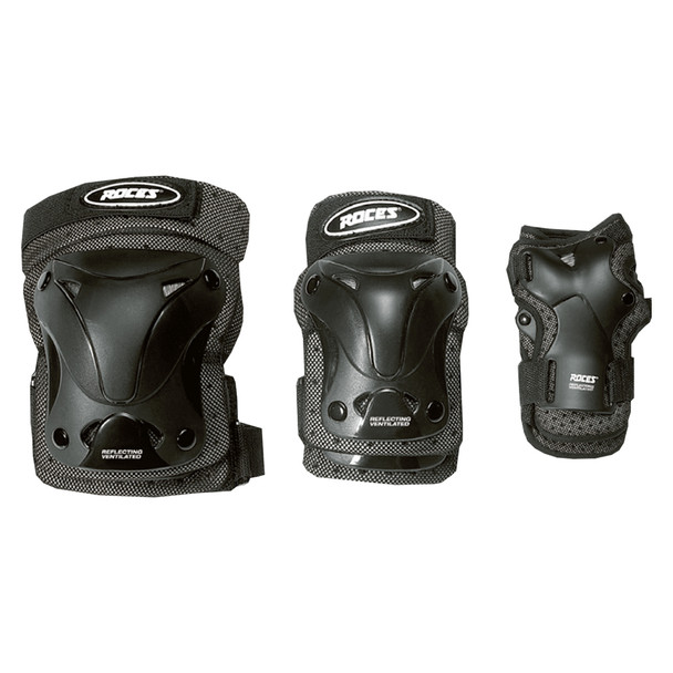 Roces Wrist, Elbow, Knee Vented Inline Hockey Guards 3 Pack - Black