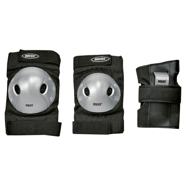 Roces Junior Extra Inline Hockey Guards 3 Pack - Black, Gray
