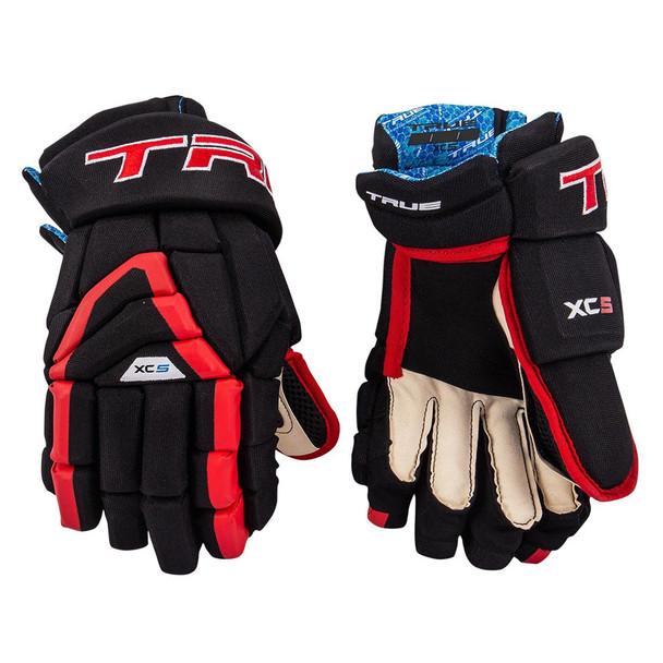 True XC5-18 Anatomical Fit Senior Hockey Gloves - Black, Red