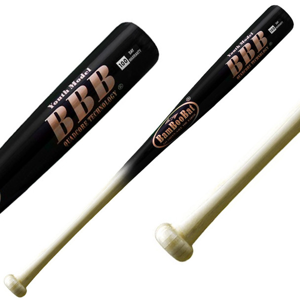 BamBoo Bat Youth Bamboo Baseball Bat - Black, Natural