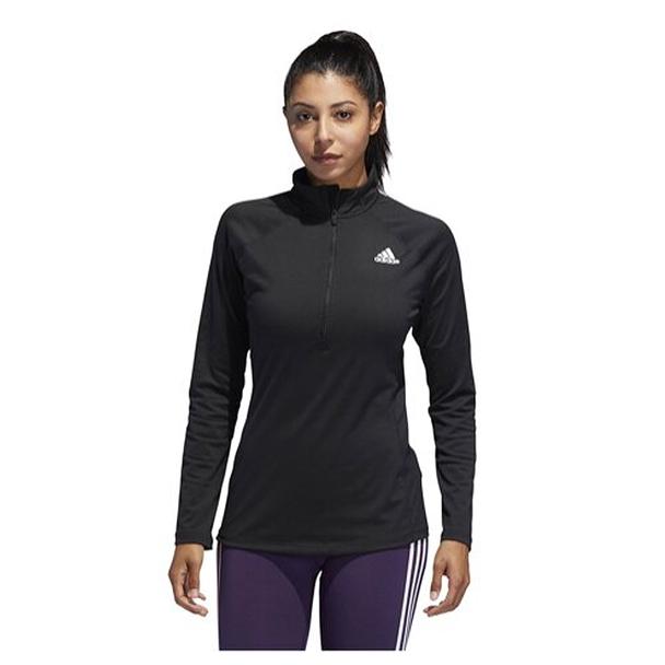 Adidas 1/4 Zip Long Sleeve Womens Top DT1638 - Black, White