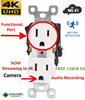 Spy 4K HD Camera with WIFI in AC Receptacle Functional Outlet