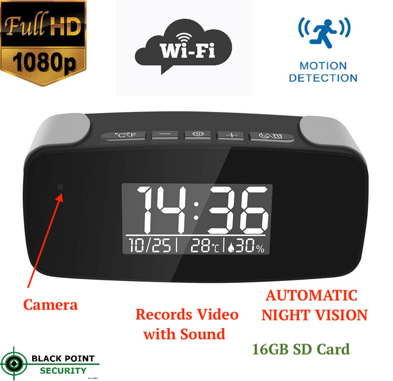 WiFi Spy Alarm Clock IR Security Hidden Camera Car DVR Motion Detection HD 1080P