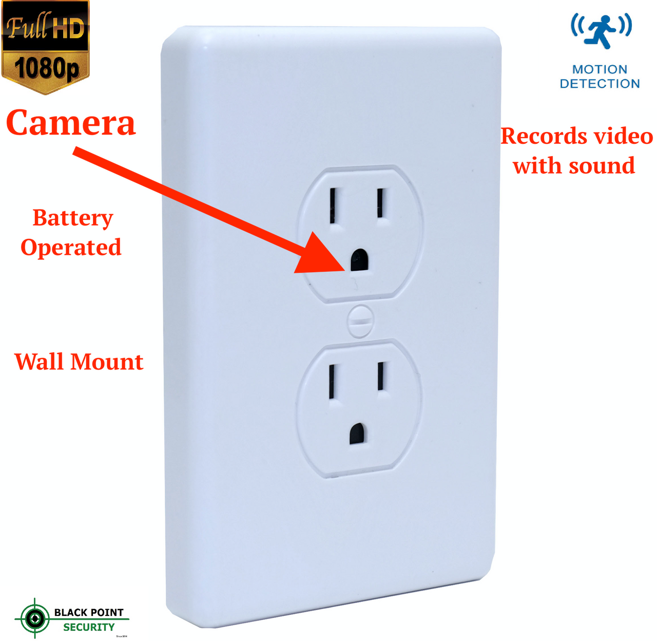 Battery Powered Outlet >> Wall Outlet 1080p Full Hd Hidden Spy Battery Operated Camera Dvr