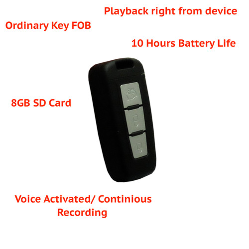 Spy Covert Security Voice Recording Device Body Key FOB