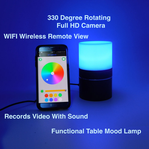 Wireless Spy Rotating Camera Spy Desk Mood Lamp   Home Security Camera
