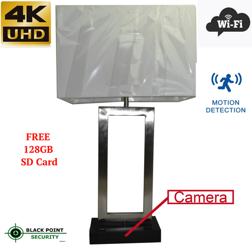 Wireless Spy 4K Camera with WIFI in Functional Table Lamp with Audio   Office Hidden Camera