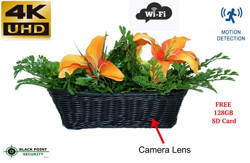 4K HD Spy Nanny WIFI IP Wireless Hidden Camera Flower Garden Basket
