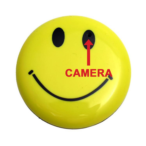 Hidden Spy Nanny Button Body Camera with Audio in Happy Face Smile