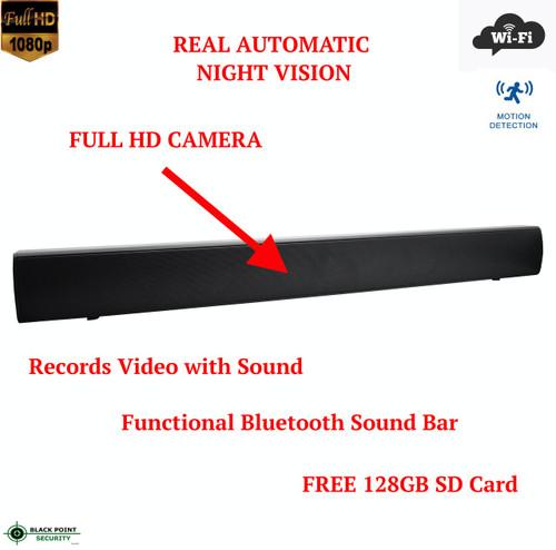 Full HD WIFI Wireless Night Vision Bluetooth Sound Bar Remote Spy Hidden Camera