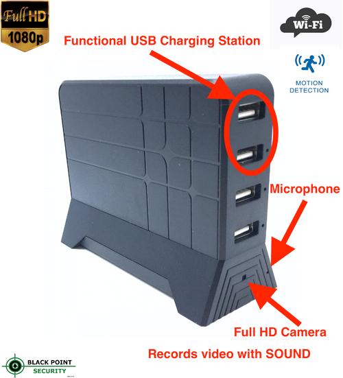Full HD Lawmate WIFI Wireless Hidden Camera USB Charging Station
