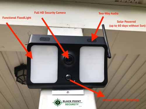 Solar Powered Wireless WIFI Outdoor Security HD Night Vision Floodlight Camera System