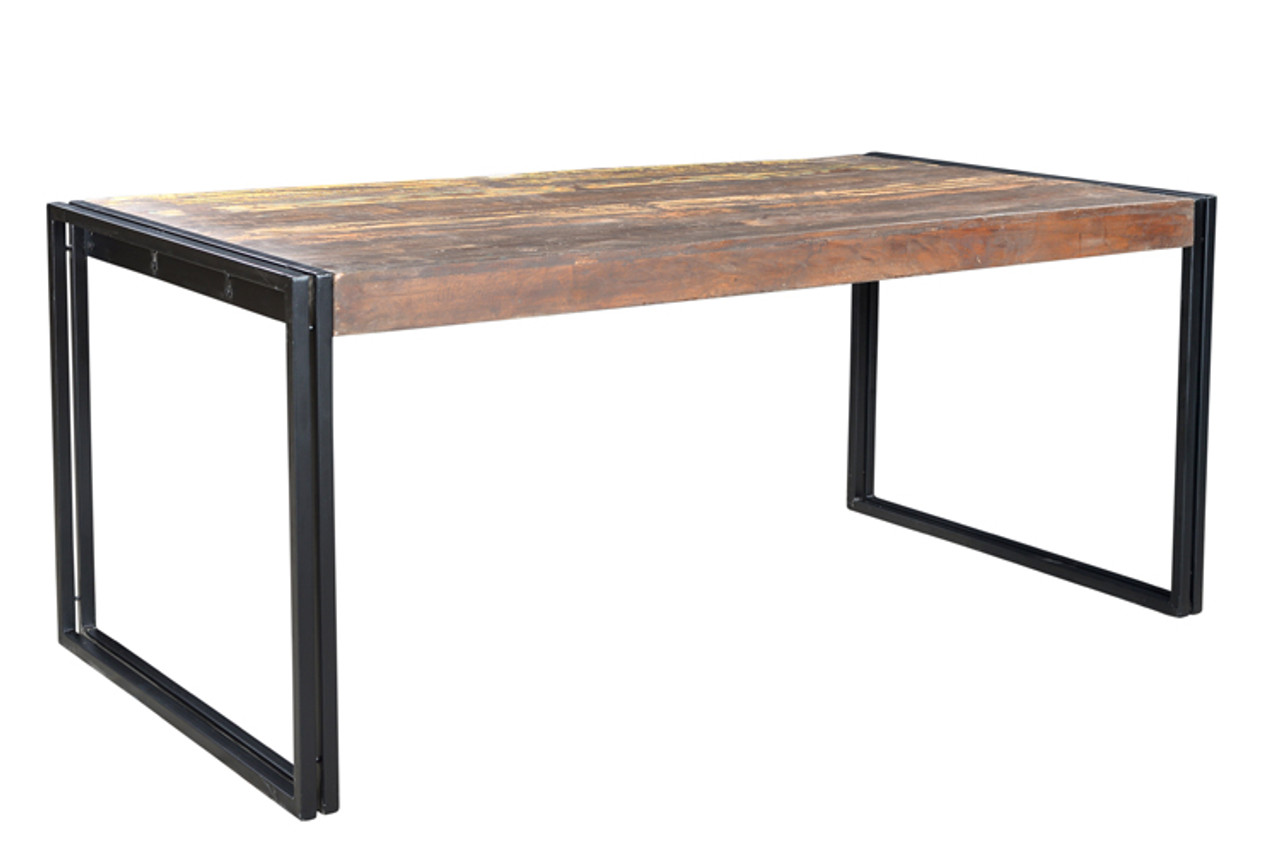 183 & Solid Old Reclaimed Wood Dining Table with Metal Legs