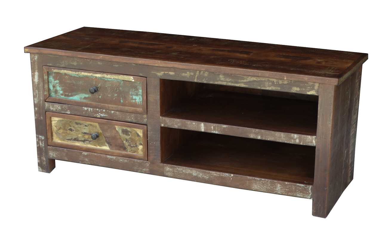 hot sale online 21cfa 7a38b Timbergirl Reclaimed Wood TV cabinet with Double Drawers and Shelves