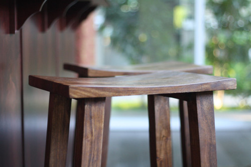 Solid Acacia Wood Counter Stool