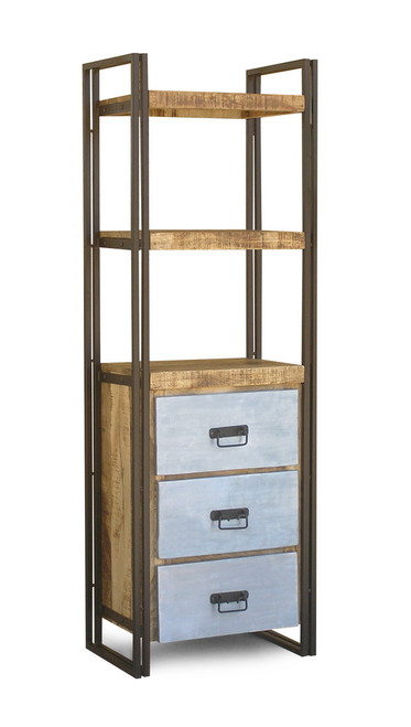 Reclaimed Wood Tall Rack with metal drawers